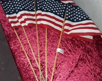 Lot of 5 American Flags on Wood Stakes