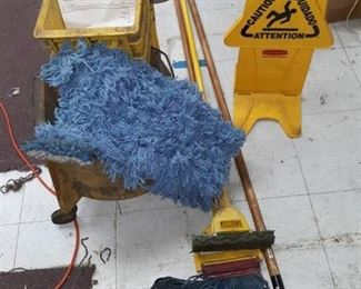 Plastic Rolling Mop Bucket, Mops and Signage