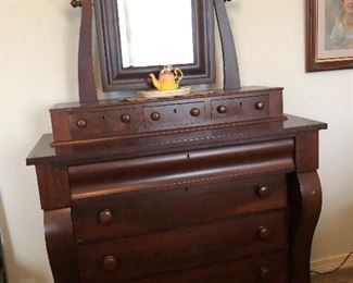 Antique Empire Dresser with Mirror