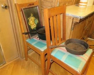 IRON SKILLETS WITH 2 LADDER BACK CHAIRS