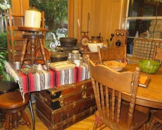 ANTIQUE PIANO STOOLS - ANTIQUE TELEPHONE - FARMHOUSE ANTIQUES - ANTIQUE TRUNK