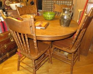 FARMHOUSE VINTAGE OAK KITCHEN TABLE WITH 4 CHAIRS