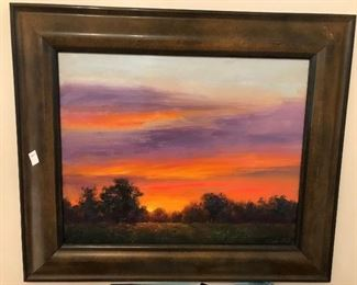 "Original oil painting ""Sunset"" by Meridian artist Greg Cartmell"