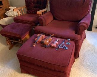 #3 burgundy best chair ottoman $75.00  #4 burgundy glider rocker ottoman  $75.00