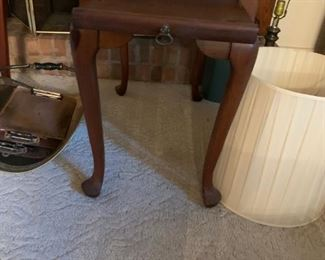 #7		Pine end table with cup shelf and QA legs 18x30x26	 $75.00