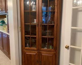 #9(2) corner display cabinets w/ 2 glass and 2 wood doors 4 shelves 36x21x79 2 @ 175 each