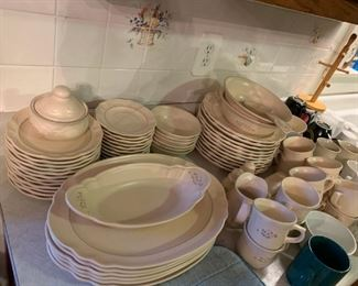 #22Pfaltzgraff china 11 plates, 6 bowls, 12 cup /saucer,12 salad plates,  $75.00  22APfaltzgraff  2 serve bowls, sugar/cream, salt pepper, butter, + 2 oval casserole $45.00