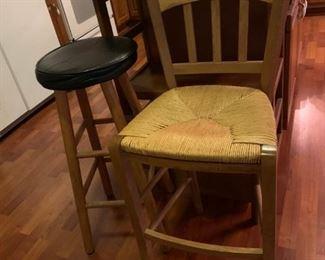 #23Barstool woven seat  $30.00  #24Black/wood round bar stool 30 tall  $20.00