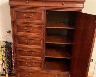 #27Lexington chest w/ 8 drawers 1 door and 3 shelves 39x19x59 $200.00