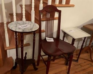 #34marble top round end table as is  $20.00  #35square marble top end table as is  $20.00  #36odd old wood dining chair spindle back as is  $30.00