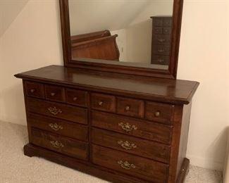 #49dark pine 8 drawer dresser w/mirror 60x20x33 mirror 45x33 $175.00