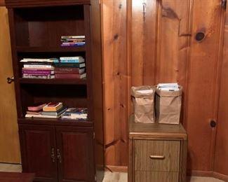 #46Laminate bookcase  $20.00  #47wood look laminate 2 drawer file cabinet  $30.00