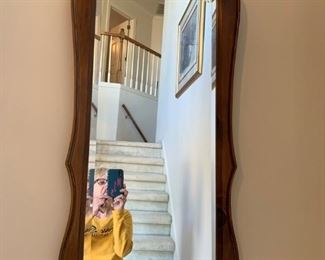 #5  beveled wood mirror with shell 19x44  $ 75.00