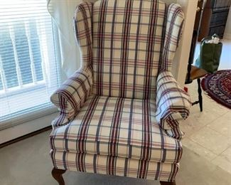 #7 Fontini by Roman wing back plaid chair 2 @ $75 ea
