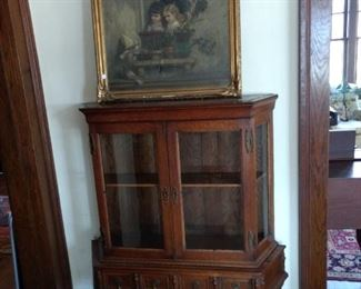 Oak Display Cabinet and Vintage Oil Painting
