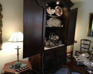 Mount Airy country French armoire bar, silver tea set, Waterford bowl