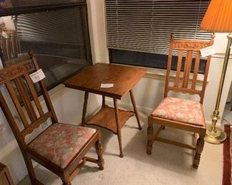Beautiful carved chairs and spindle table