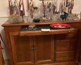 Lenox pencil Santas, sideboard, gorgeous glassware
