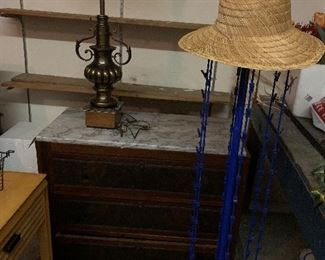 Marble topped antique dresser  Singer sewing machine and table Rotating display