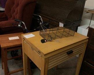Singer Roll top desk  Cranberry chair Rolling walker