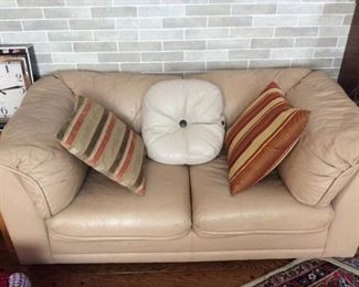 Living Room - Tan/beige leather couch/loveseat
