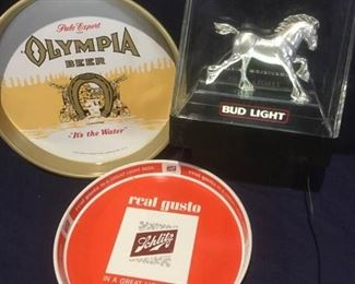 Brewing Trio: Schmitz, Olympia trays & lighted Bud Light Clydesdale Sign https://ctbids.com/#!/description/share/276108