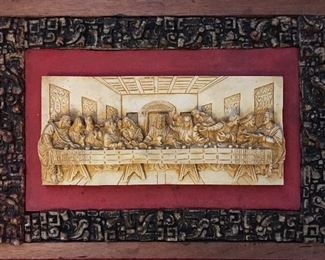 Very Unique Wooden Plaque of the Last Supper