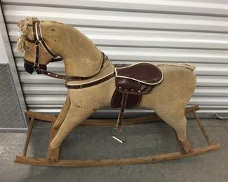 Vintage Corduroy Rocking Horse https://ctbids.com/#!/description/share/275179