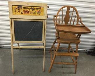 Vintage High Chair & Chalkboard https://ctbids.com/#!/description/share/275180