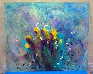 Sam Finley (American, 1956 - ), Abstract Wall Art Of Floral Image, 6' x 5', Signed On Back