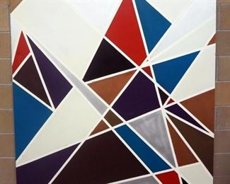 Sam Finley (American, 1956 - ), Abstract Wall Art On Canvas Of Geometric Shapes, 5' x 6'