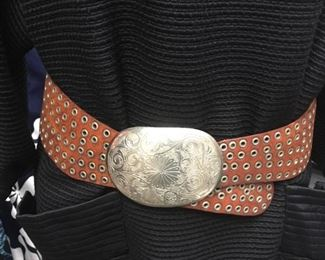 Great vintage leather belt with silver buckle