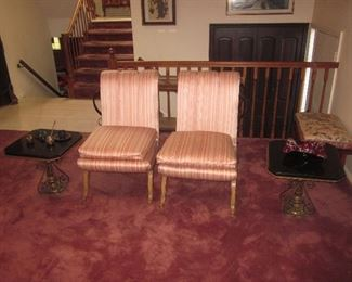 Beautiful Pair of Silk Occasional Parlor Seating Pair Of Marble Top Tables With Brass Scrolled Base