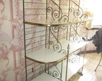 Large Brass & Marble Bakers Rack Display