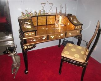 Gold Leaf Asian Accent Writing Desk with seating