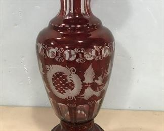 Bohemian Cranberry Glass Vase