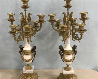 Reproduction Brass & Alabaster Candelabras