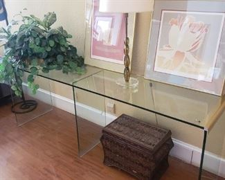 BEAUTIFUL GLASS CONSOLE TABLE