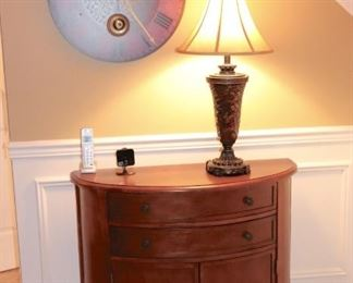 Demi-Lune Table, Stylized Clock and Lamp