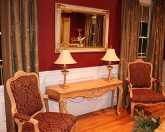 Pair of Upholstered Occasional Chairs, Console Table, Pair of Lamps and Large Mirror