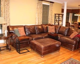 Brown Sectional Sofa with Over-sized Ottoman, Round Side Table and Lamp