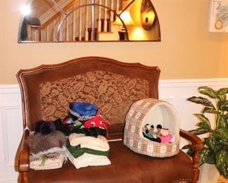 Settee and Assorted Household Items