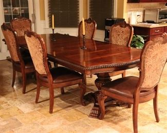 Dark Wood, Double Pedestal Banded Table with 6 Chairs