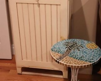 Small Cabinet and Small Round Mosaic Tile Top Table