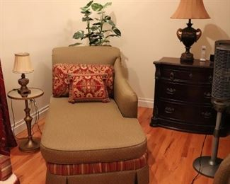 Chaise with Accent Pillows, Assorted Lamps and Small Round Side Table