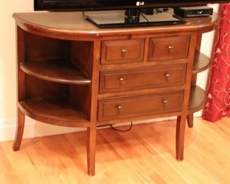 Demi-Lune Cabinet with Center Drawers and Side Shelves