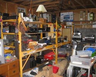 industrial shelving, tools, vintage radios...