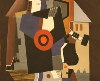 Early 20th C. Russian Cubist Gouache Painting on heavy paper