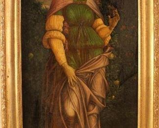 19th C Pre-Raphaelite oil on canvas