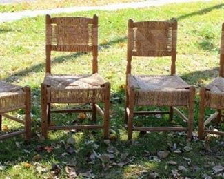Set of Four (New) Wood and Woven Wicker Table Chairs